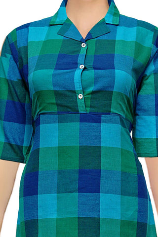 Deep Sky Blue Notched Collar Checks A Line Handloom Kurti