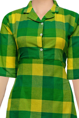 Yellow Green Notched Collar Checks A Line Handloom Kurti