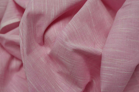 Cadillac Pink Slub Weave Solid Color White Slub Negamam Fabric