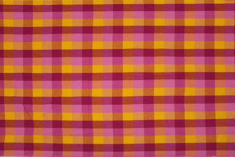 Orange Checks Weave Multicoloured Checks Mangalagiri Fabric