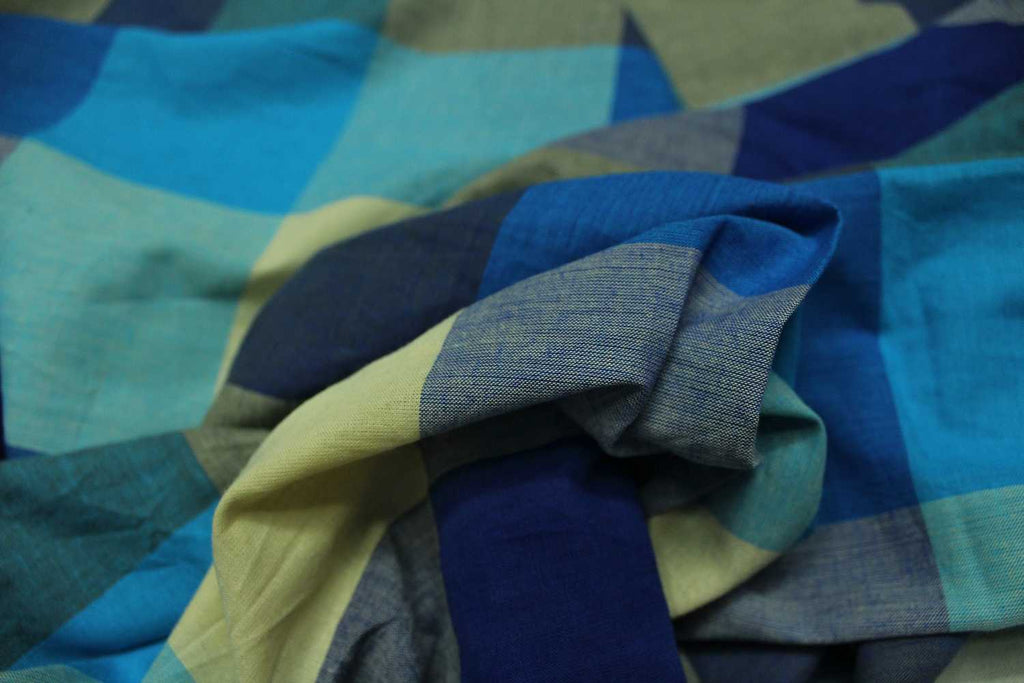 Silk Blue Checks Weave Multicoloured Checks Mangalagiri Fabric