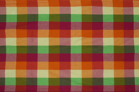 Light Green Checks Weave Multicoloured Checks Mangalagiri Fabric