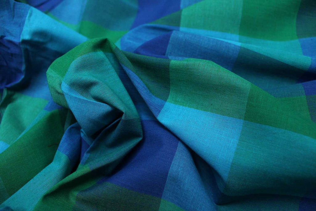 Dark Blue Checks Weave Multicoloured Checks Mangalagiri Fabric