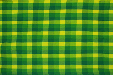 Green Checks Weave Multicoloured Checks Mangalagiri Fabric