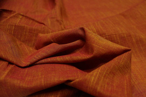 Dark Coral Slub Weave Solids with Dark Slub Mangalagiri Fabric
