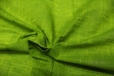 Lawn Green Slub Weave Solids with Dark Slub Mangalagiri Fabric