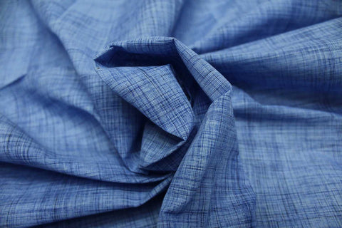 Denim Blue Slub Weave Stripes Slub Zero Finish Negamam Fabric