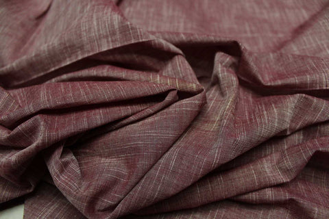 Rosy Brown Slub Weave Stripes Slub Zero Finish Negamam Fabric