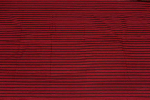 Red Dobby Weave Horizontal Lines Kanchi Fabric