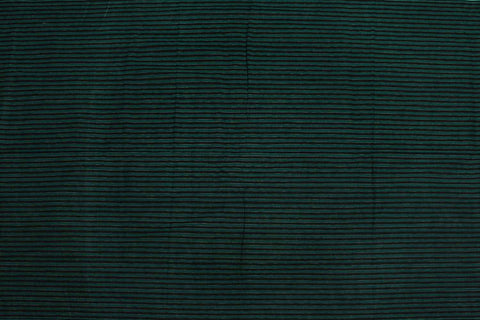 Medium Sea Green Checks Weave Horizontal Zari Lines Kanchi Fabric