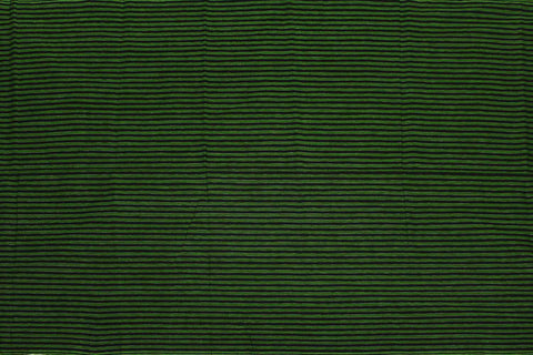 Pine Green Checks Weave Horizontal Zari Lines Kanchi Fabric