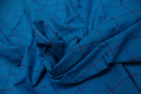 Dark Blue Checks Weave One Inch  Pintex Checks Kanchi Fabric