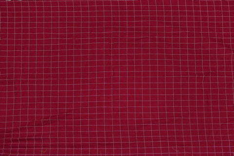 Red Checks Weave One Inch  Pintex Checks Kanchi Fabric
