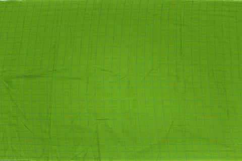 Parrot Green Checks Weave One Inch  Pintex Checks Kanchi Fabric