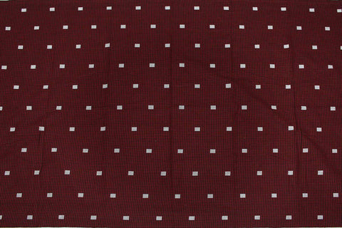 Red Dobby Weave Jacquard Checks Kanchi Fabric