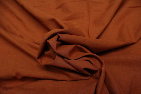 Rust Plain Weave Plain Colour Kanchi Fabric
