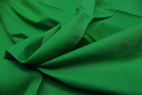 Kelly Green Plain Weave Plain Colour Kanchi Fabric