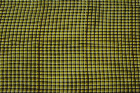 Light Green Checks Weave Gingham Checks Kanchi Fabric