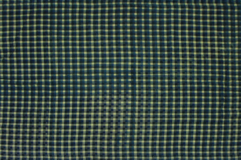 Medium Sea Green Checks Weave Gingham Checks Kanchi Fabric