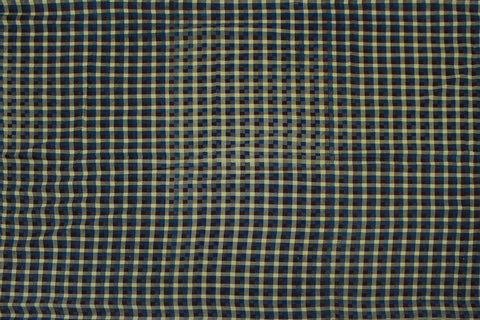 Greenish Blue Checks Weave Gingham Checks Kanchi Fabric