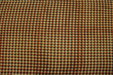 Coral Checks Weave Gingham Checks Kanchi Fabric