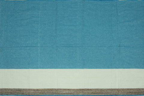 Silk Blue Plain Weave Plain with One Side Border Mangalagiri Fabric