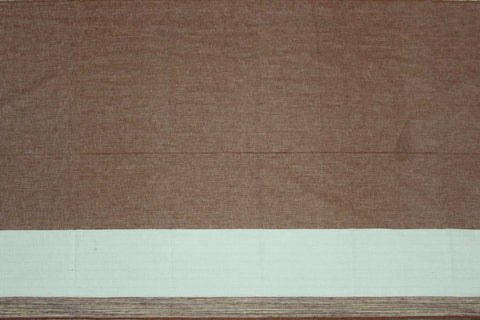 Camel brown Plain Weave Plain with One Side Border Mangalagiri Fabric