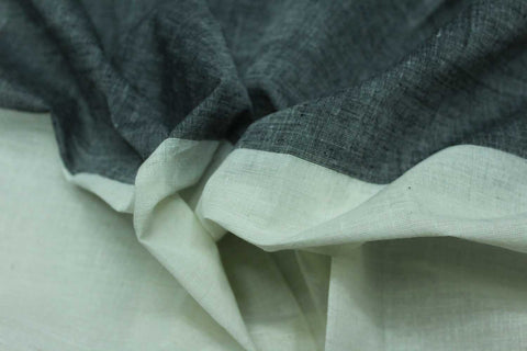 Light Slate Grey Plain Weave Plain with One Side Border Mangalagiri Fabric