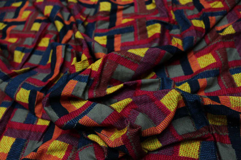 Yellow Dobby Weave Premium Checks Jaipur Fabric