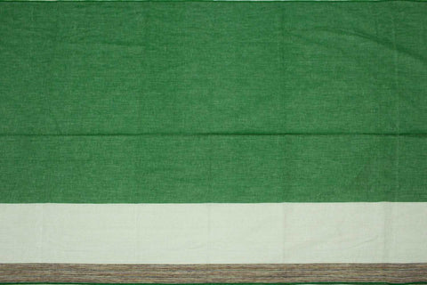 Forest Green Plain Weave One Side Border Negamam Fabric
