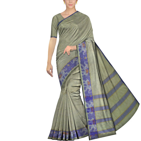 Dark Sea Green Pochampally Handweave Pochampally Elephant Border Saree