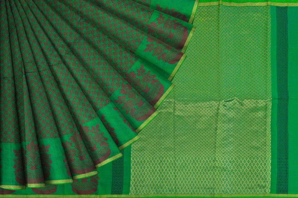 Forest Green Kanchi Rich Pallu, Allover Buta Dobby Weave Saree