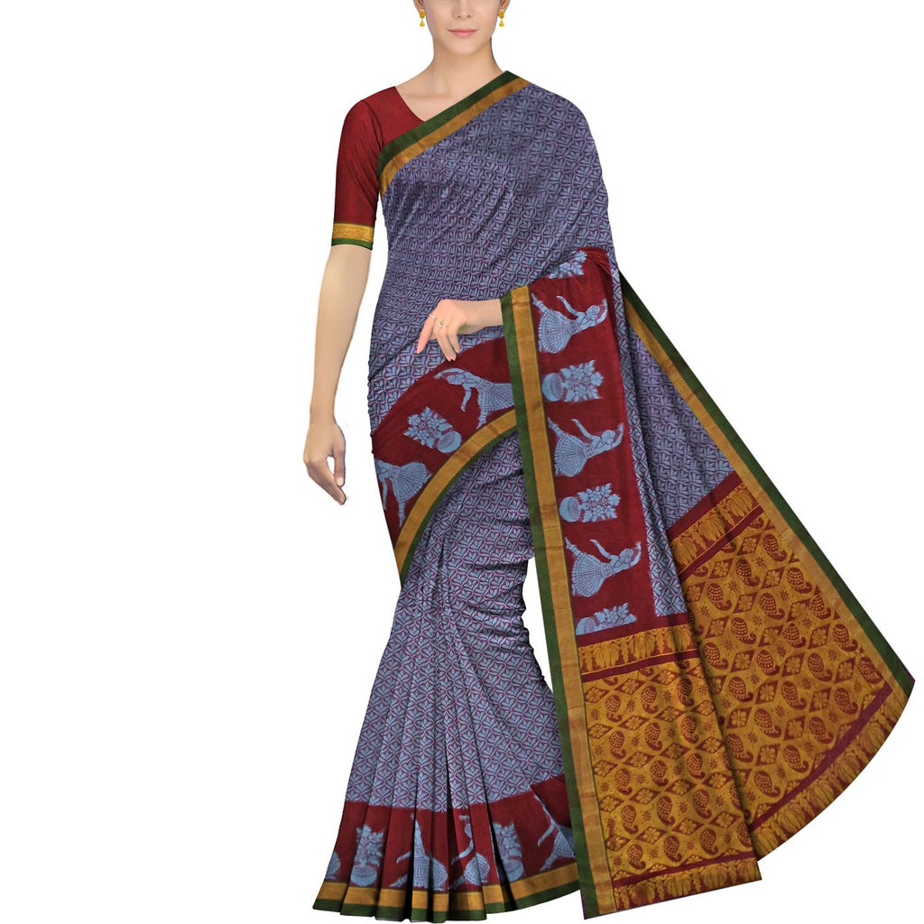Iceberg Dobby Weave Allover Buta & Border Dance Still Banaras Saree