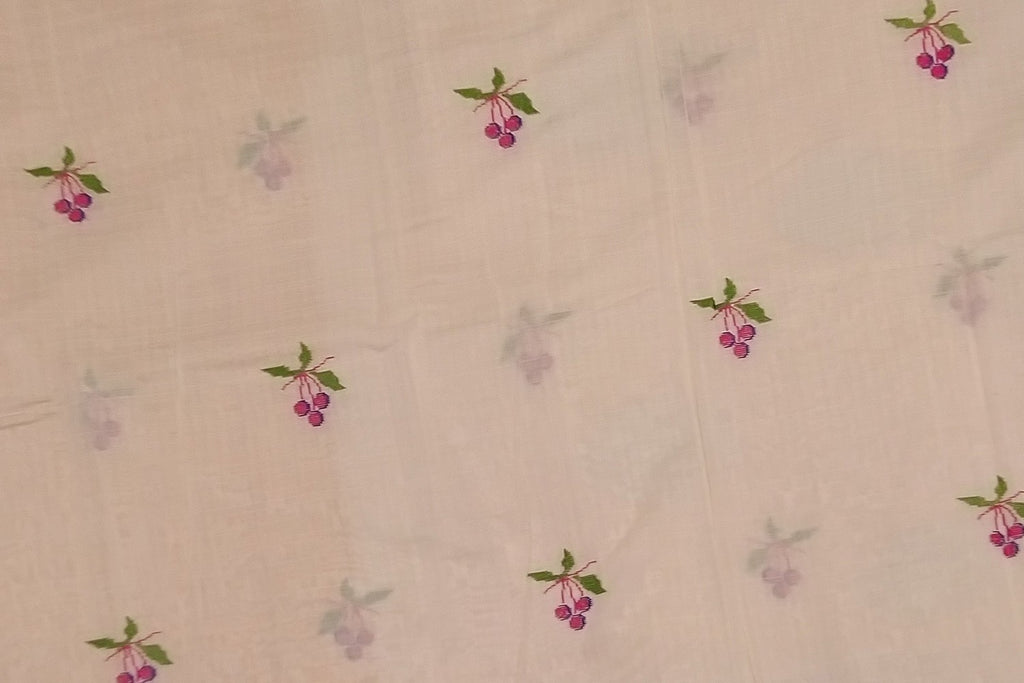 Beige Chanderi Embroidery Work Bunch of Grapes Embroidery Saree