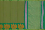 Forest Green Dobby Weave Allover Diamond Buta & Bottom Lotus Buta Banaras Saree