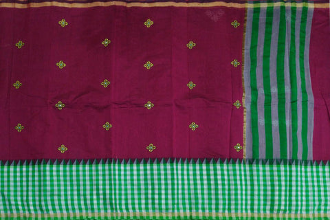 Maroon Kanchi Checks Bottom & Body Buta Mirror Work Saree