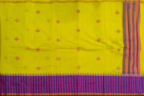 Yellow Kanchi Checks Bottom & Body Buta Mirror Work Saree