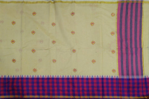 Peach Kanchi Checks Border, Body Buta & Stripes Pallu Mirror Work Saree