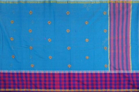Sky Blue Kanchi Checks Border, Body Buta & Stripes Pallu Mirror Work Saree