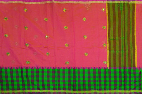 Dark Coral Kanchi Checks Border, Body Buta & Stripes Pallu Mirror Work Saree