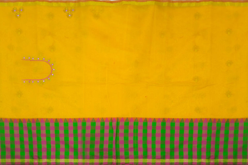 Orange Kanchi Checks Border, Body Buta & Stripes Pallu Mirror Work Saree