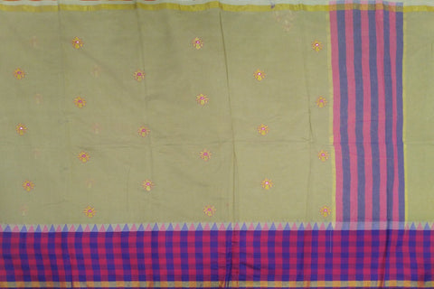 BurlyWood Kanchi Checks Border, Body Buta & Stripes Pallu Mirror Work Saree