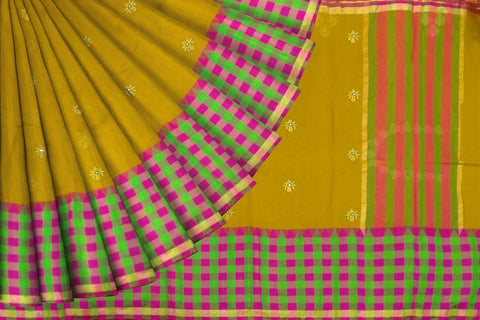 Dark Orange Kanchi Checks Border, Body Buta & Stripes Pallu Mirror Work Saree