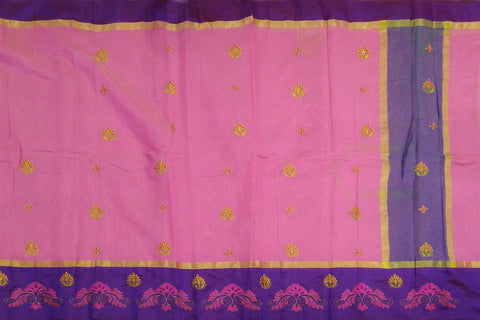 Hot Pink Embroidery Work Allover & Border Embroidery Banaras Saree