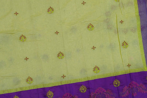 Mint green Embroidery Work Allover & Border Embroidery Banaras Saree
