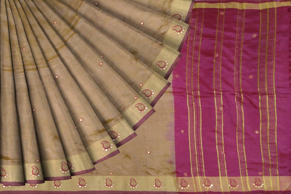 Sandy Brown Embroidery Work Pallu Zari Lines, Border Mango Buta Banaras Saree