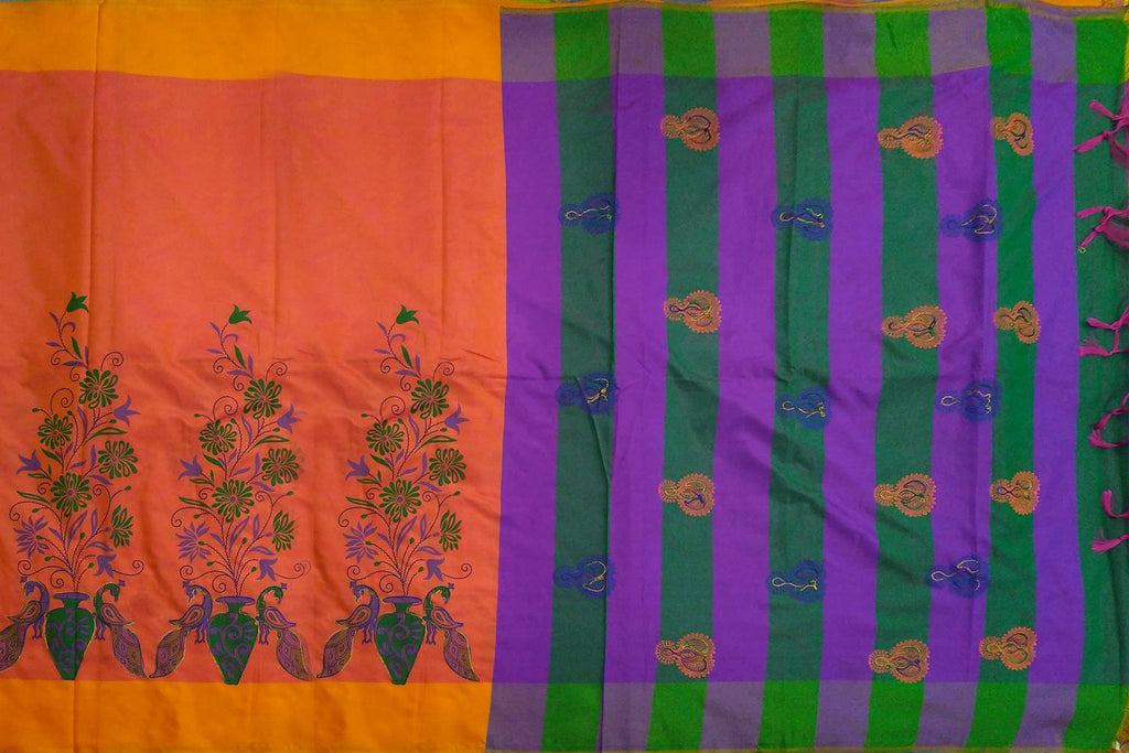 Dark Orange Screen Print Pallu Peacock & Bottom Flower Pots Print Banaras Saree