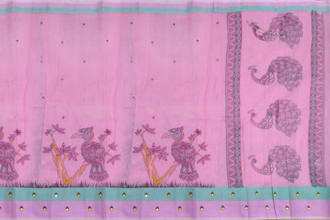 Blossom Pink Chanderi Screen Print Body Mirror Work, Pallu Peacock Print Saree
