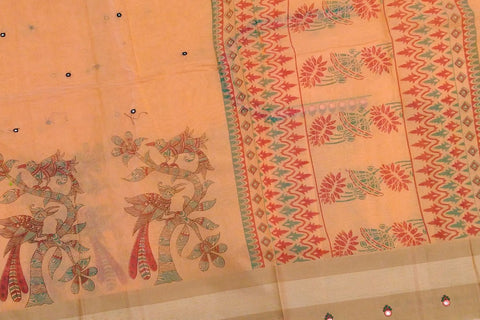 Fall Leaf Brown Chanderi Screen Print Body Mirror Work, Pallu & Bottom Print Saree
