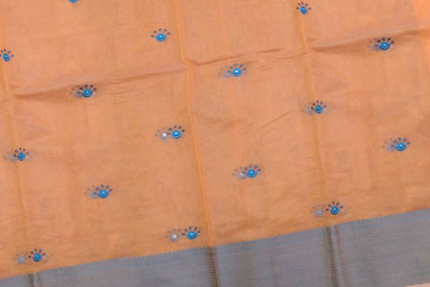 Light Brown Mirror Work Allover Embroidery Buta Banaras Saree